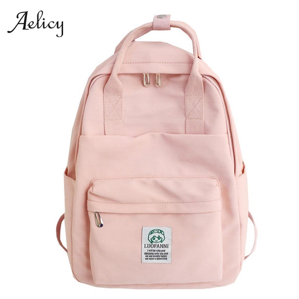 Aelicy Waterproof Nylon Women Backpack Female Large Capacity High Schoolbag Korean Vintage Girl Shoulder Bags Travel Bag Mochila