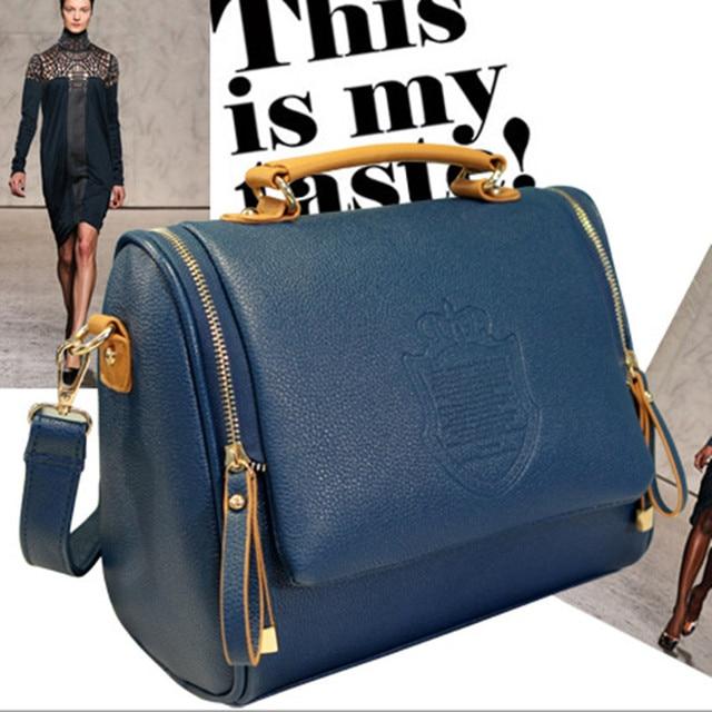 2016 New England Fashion Double Pull Crown Bags Portable Shoulder Messenger Bag Retro Handbags