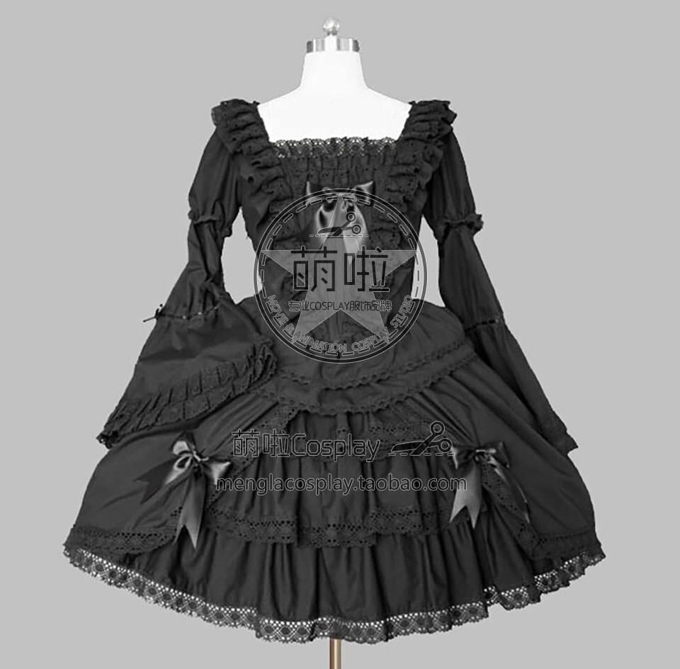 Lolita robe gothique Lolita Francaise Punk Cosplay Costume avec dentelle et épaule dénudée décoré expédition rapide pour Halloween