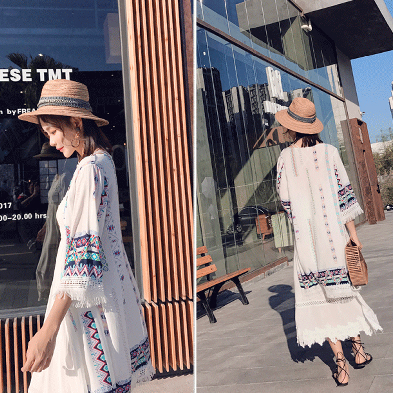 Bohemian style 2018 fashion three quarter flare sleeve summer pure color patchwork embroidery floral print tassel chiffon shirts 23
