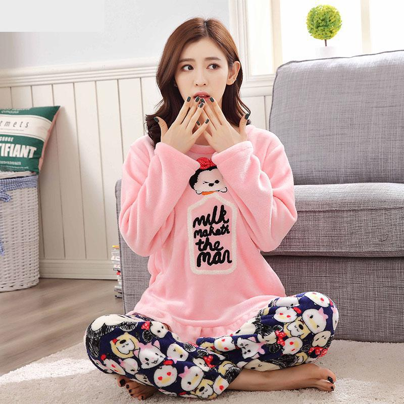 Spring Autumn Women Pajama Sets O-neck Long Sleeve Women Sleepwear Flannel Pajamas Girls Home Wear Clothing For Woman Nightgown