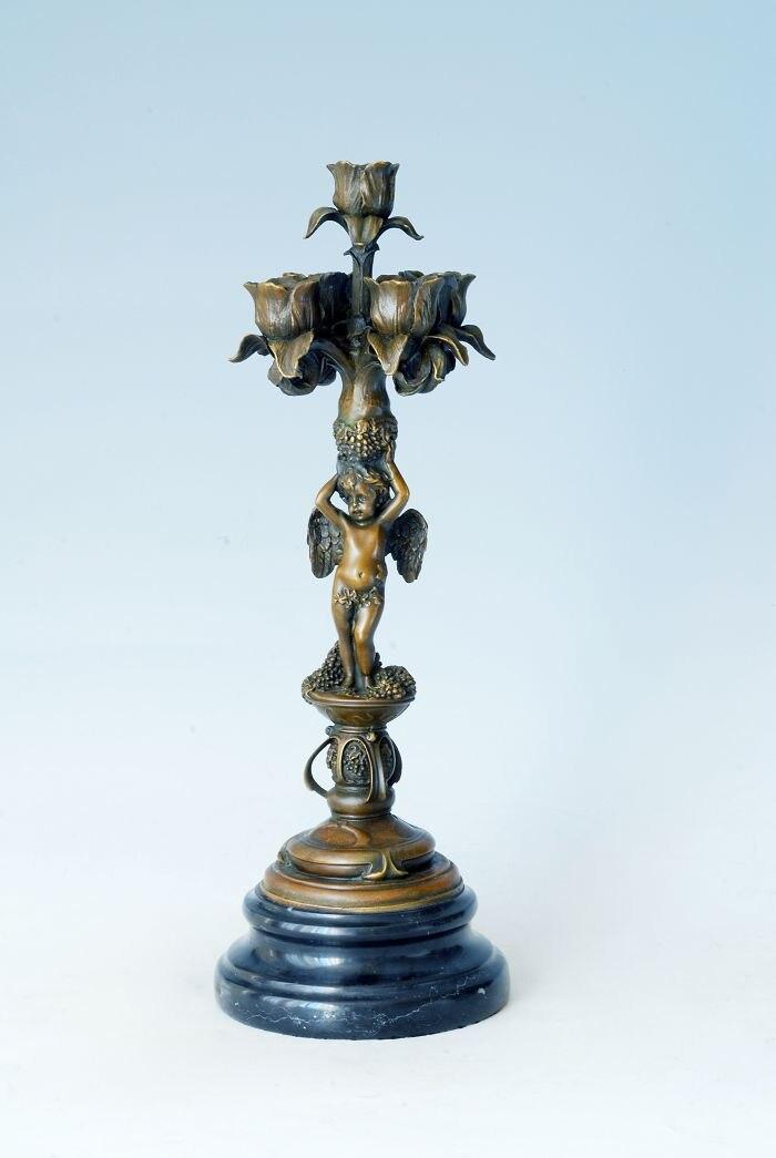 ATLIE Bronzes Bronze bougeoirs Statue 5 trous chérubin figurine chandelier Sculpture anniversaire cadeaux Table décoration