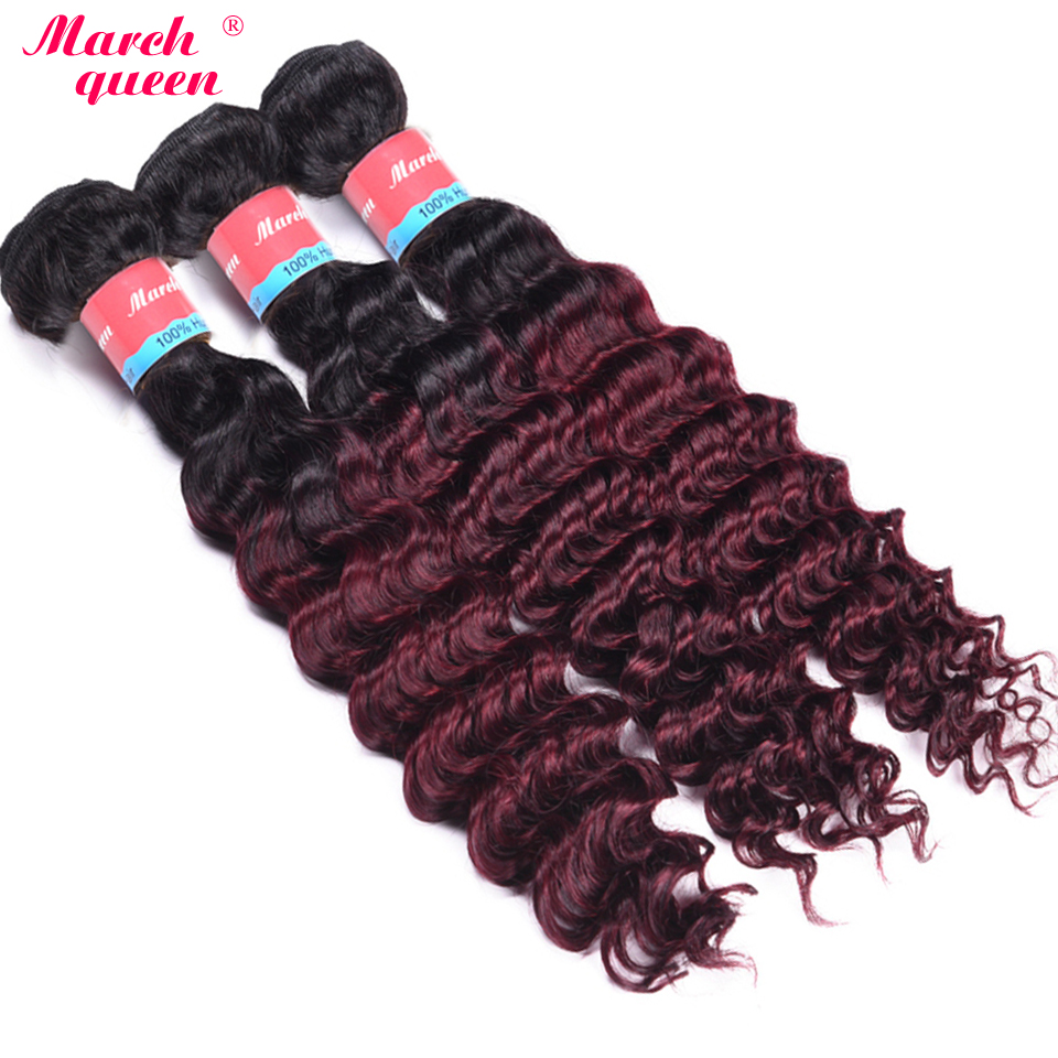 Hair Weaves Hair Extensions & Wigs Ombre Indian Human Hair Weave Bundles T1b/99j Deep Wave Bundles 2 Tone Black To Red Wine Color Human Hair Extensions March Quuen Buy Now