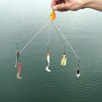 5pcs 21cm 8 Umbrella Rig Bait Fishing Lure Tackle Leader Head 5 Arms Free Shipping