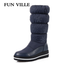 hot deal buy fun ville hot new arrival women's mid calf boots winter warm snow boots round toe high boots female platform shoes size 35-44