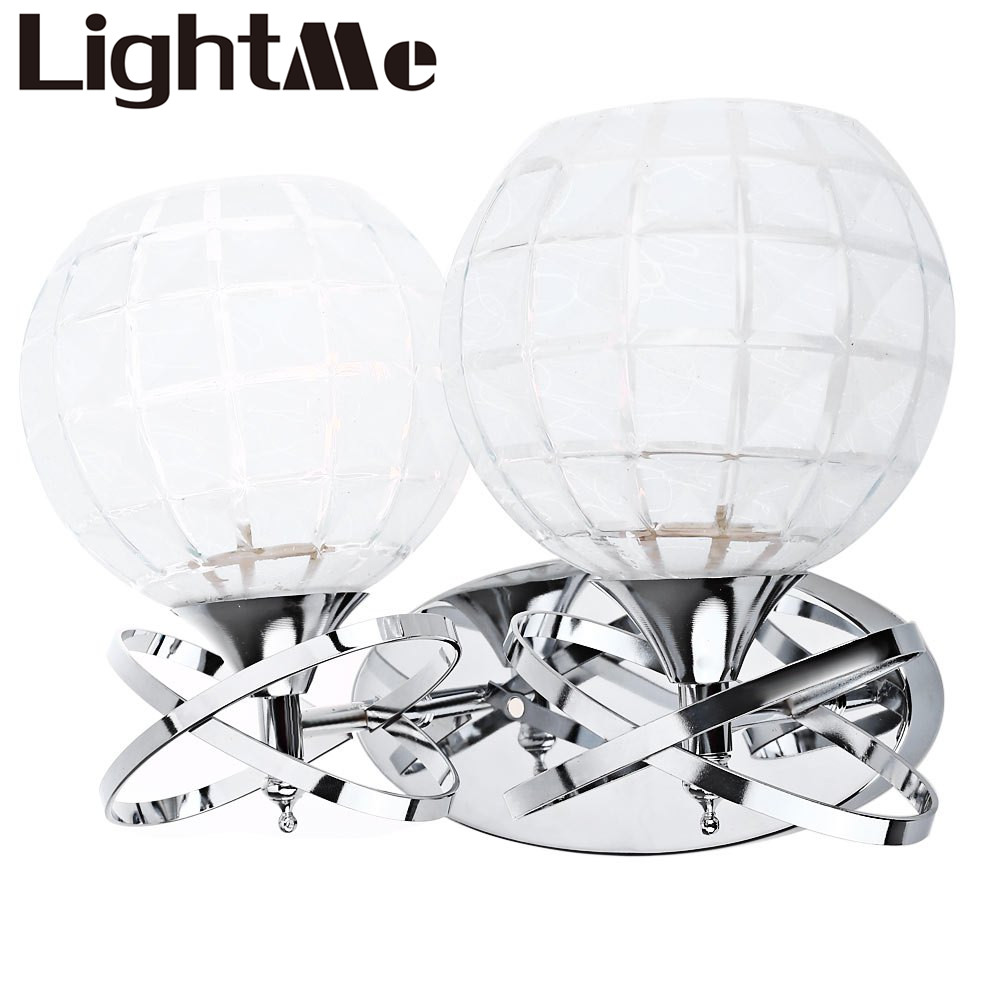 On Sales Crystal Metal Silver Shade Fashion Double Head E27 LED Wall Lamp Led Bulb Indoor Lighting For Home Bedroom,Living Room