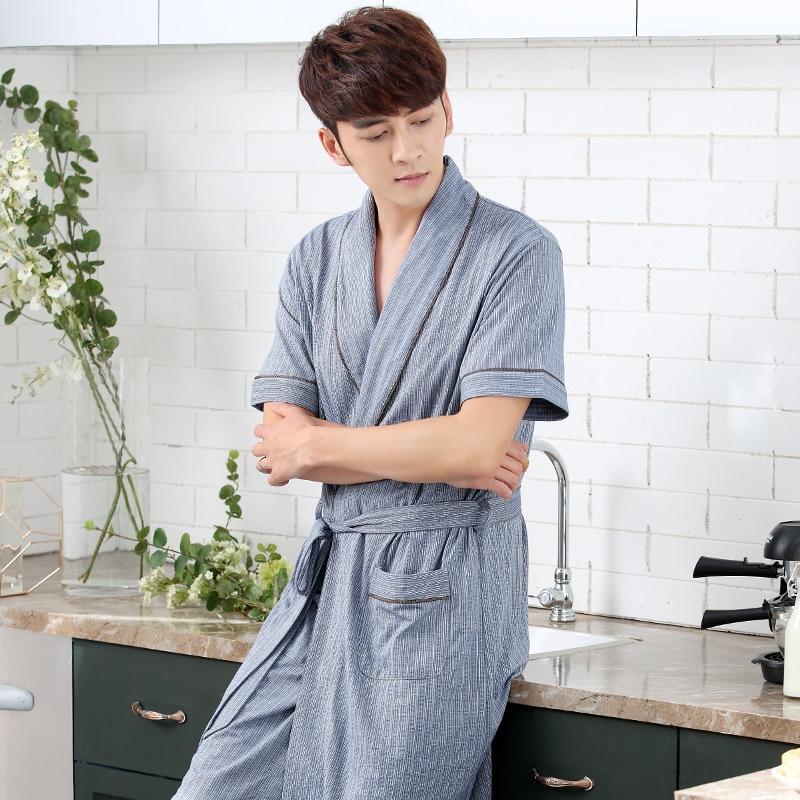 Online Shop Robe Men Summer Cotton Short-sleeve Thin Bathrobes Long Robes  Men Lounge Sleepwear Plus Size 3XL  7377b6bd1