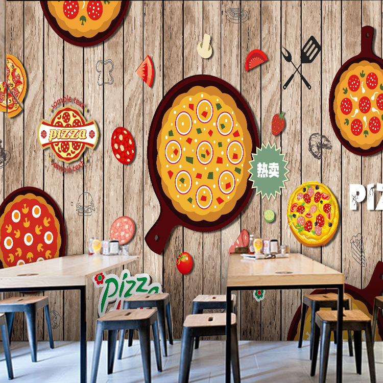 Free Shipping 3D solid wood retro wallpaper bakery cake shop tea shop cafe pizza shop restaurant snack shop wallpaper mural