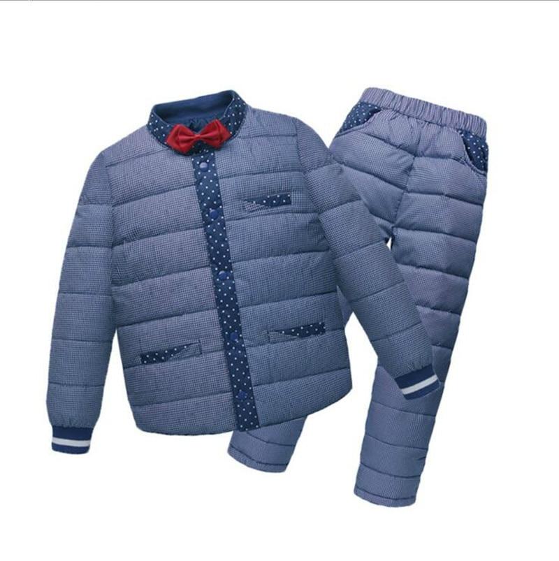 2017 New Winter Baby Boy Winter Children Down Coats Overalls Clothing Set Jacket Warm Outerwear&Coats Children's Clothing new 2016 baby down coats set baby down jacket suspenders girl