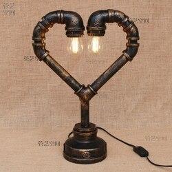 Rury wodne stół żeliwny światła badania wiatr przemysłowy Cafe motyw hotelowy restauracja sypialnia lampa do korytarza mody lampy stołowe