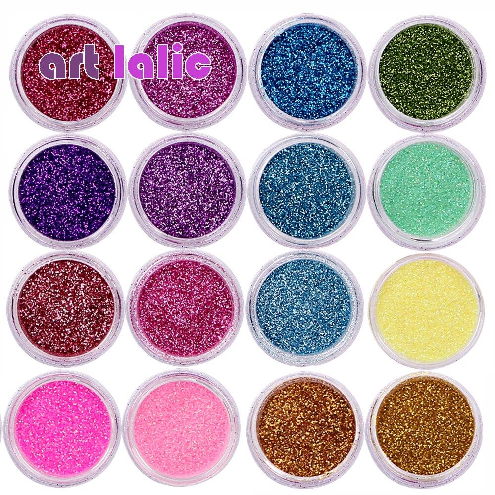 30 Pcs Assorted Colors Nail Art Fine Glitter Powder Dust