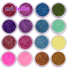 30 Pcs 네일 반짝이 모듬 된 색상 네일 아트 파인 Glitters 파우더 먼지 UV 젤 폴란드어 아크릴 네일 팁 메이크업 도구