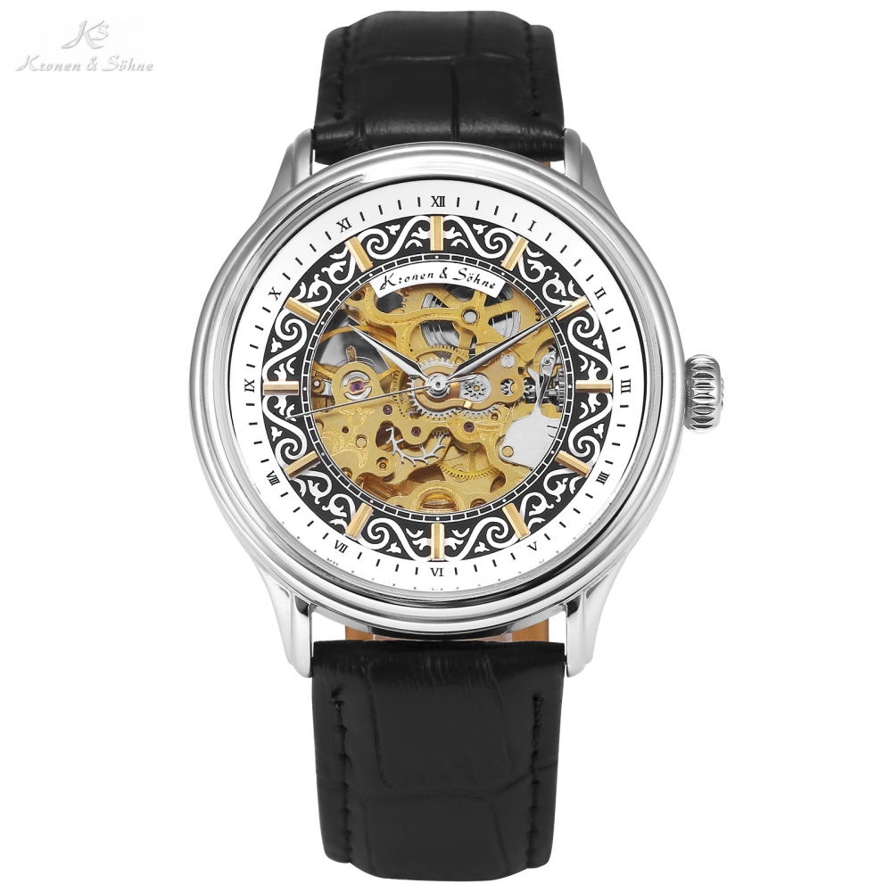 KS Brand Skeleton Male Business Clock Crystal Case Full Black Leather Band Automatic Mechanical Watches Relogio Masculino /KS384