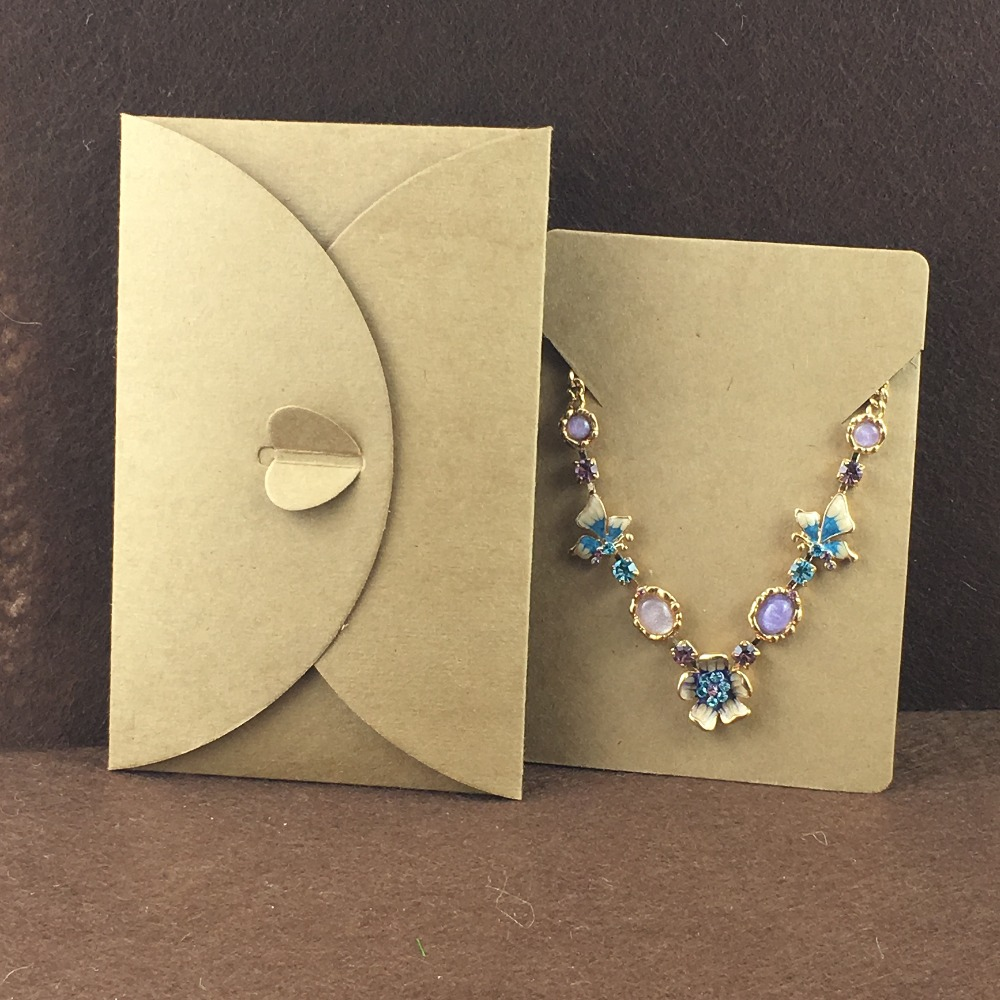 19.5*6cm Paper White Jewelry Case Necklace Display Hanging Card With Bag 120pcs