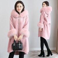 MUMUZI Fashion women's pink fake faux fur hooded long coat parkas outwear fur velvet warm thick lined winter jackets