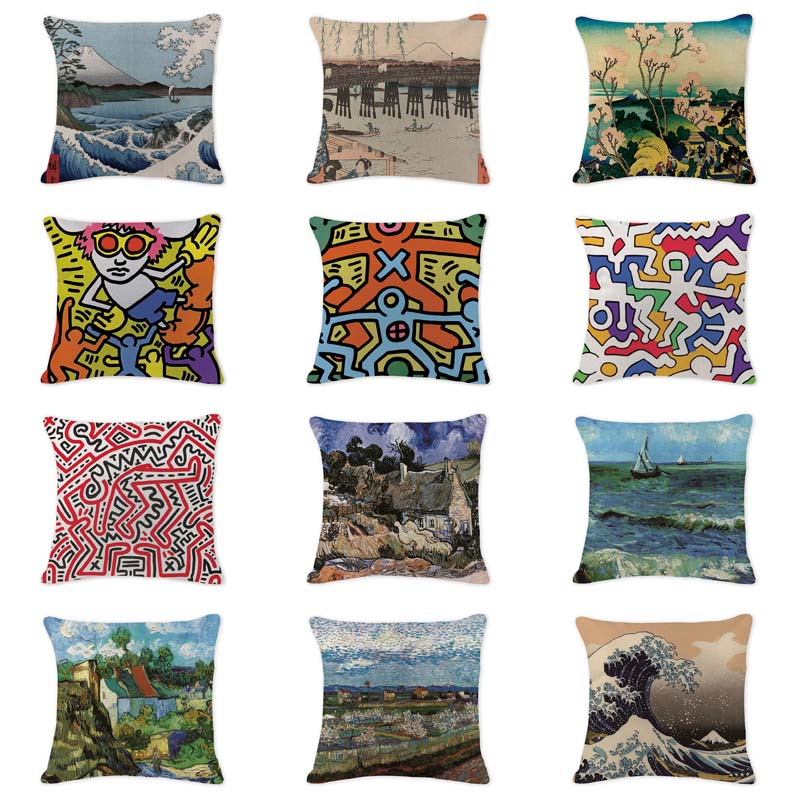 Elegant Cushion Cover Oil Printed Air Abstract Pillowcases Sofaseat Large Cotton Linen Home Office Furniture Ukiyo-E Kussenhoes