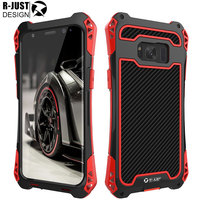 R Just AMIRA Cover For Samsung Galaxy S6 S7 Edge Case Powfull Dropproof Carbon Fiber Case