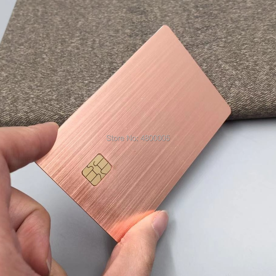 0.8mm Thickness Custom Brushed Rose Gold Metal 4428 Chip Card With Magnetic Strip