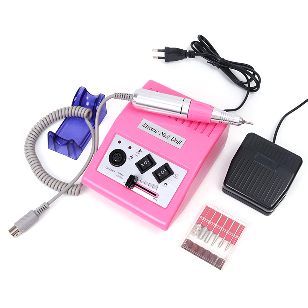 1set Electric Manicure Drill Machaine Pink Nail Milling Cutter Professional Pedicure 6 Tips Nail Drills Manicure Tool LAHBS-278S ezflow комфортные типсы натурального цвета 6 ezflow nail tips leisure tips 6 refill 29110 6 50 шт