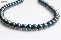 Natural Freshwater Pearl black 12 14mm semiround For Jewelry Making 15inches DIY necklace bracelet earring FreeShipping