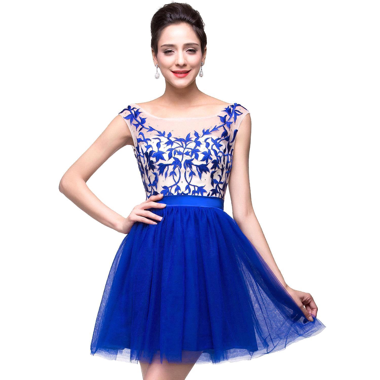 8e5dabb0e5d Vestidos Para Formatura 2017 Sweet 16 Scoop Skirt Ruffles Sexy Royal Blue  Homecoming Dresses Tulle Mini Prom Dresses-in Homecoming Dresses from  Weddings   ...