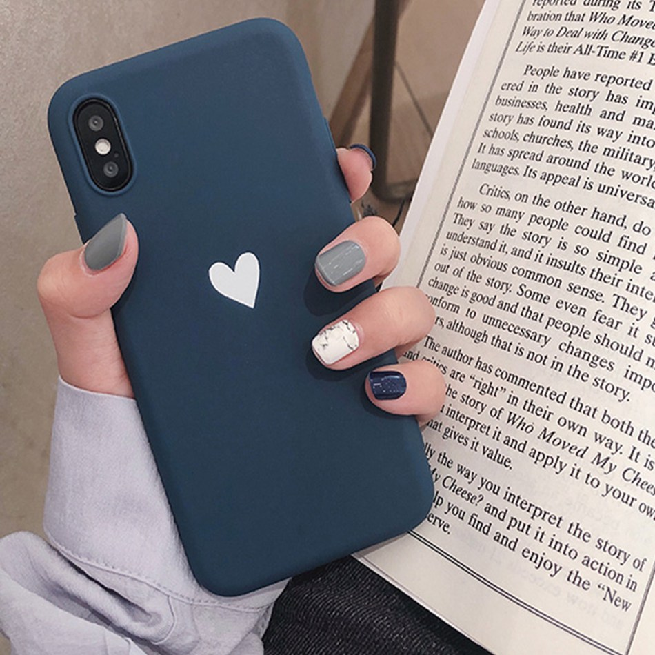 For Honor 8X Case Love Heart Print Back Cover For Huawei Honor Play 9 8 Lite 10 enjoy 8 Plus 7S Retro Lovely Matte Soft TPU Case