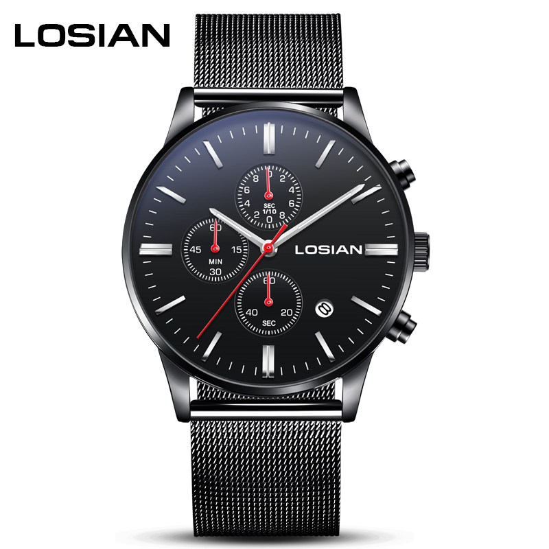 LOSIAN Men's Watches Fashion Cool Multi-function Leisure Sports Luminous Waterproof Calendar Steel Band Quartz Watch цена и фото