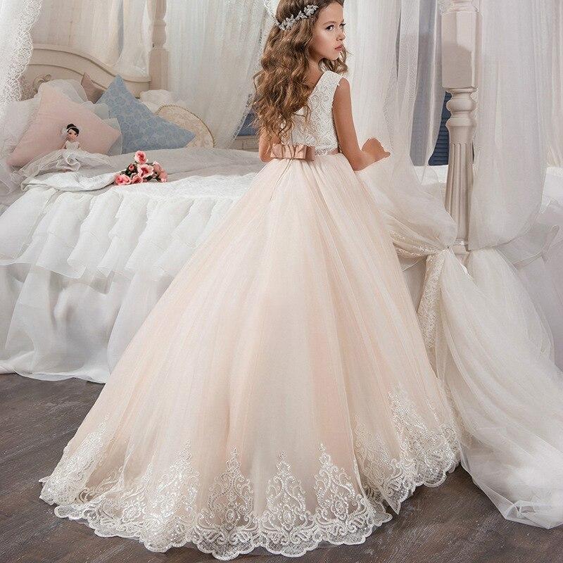 Pocket Dress Vestidos Little Girl Wedding Embroidered Dress Evening Gowns White for Girl 3 Years 12 Year Children Princess Dress