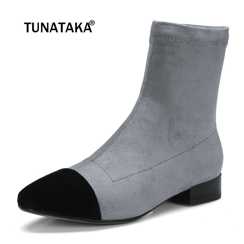 Women Suede Comfortable Low Heel Ankle Boots Fashion Mixed Colors Round Toe Elastic Boots Pink Gray