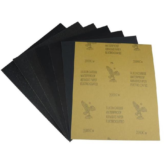 7 pcs un ensemble papier abrasif papier de verre 400 2000 grit 230mm x 280mm humide sec tanche. Black Bedroom Furniture Sets. Home Design Ideas