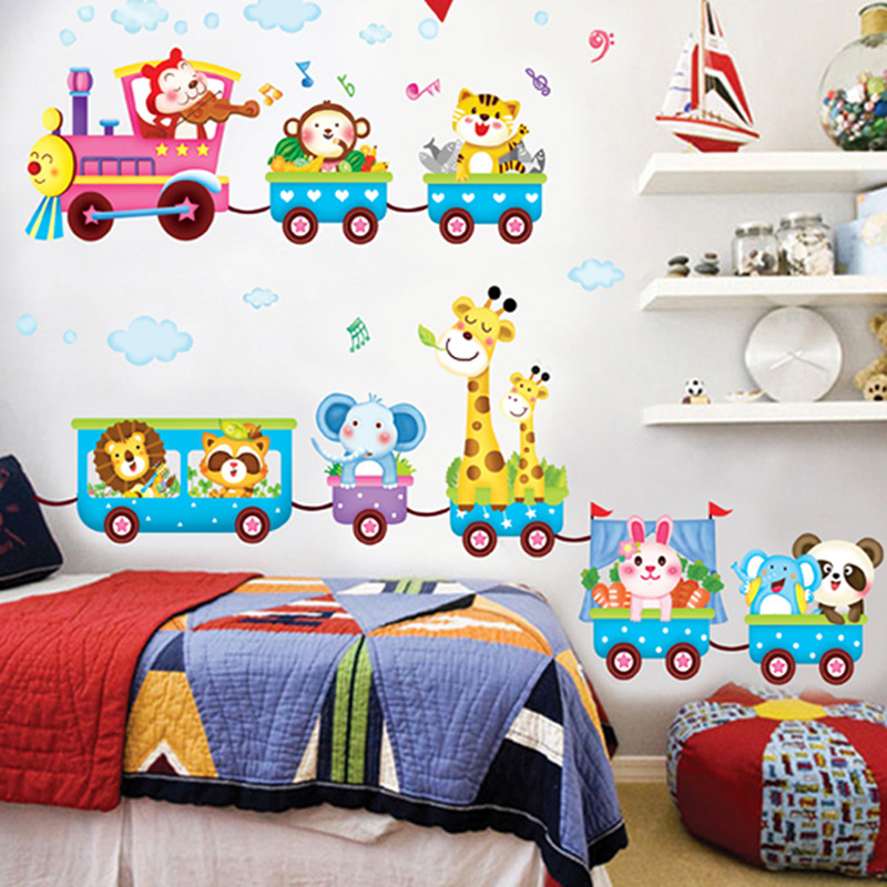 Jungenzimmer Baby cartoon tier auto kinder jungen zimmer dekoration wandaufkleber diy
