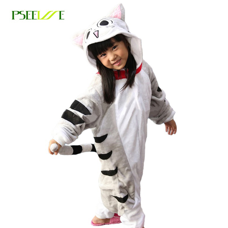 New children's sleepwear Winter flannel pajamas for girls cosplay costume Cat Hooded pajamas for kids boy pajamas set
