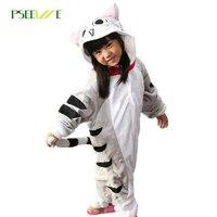 New children's sleepwear Winter flannel pajamas for girls cosplay costume Cat Hooded pajamas for kids boy pajamas set