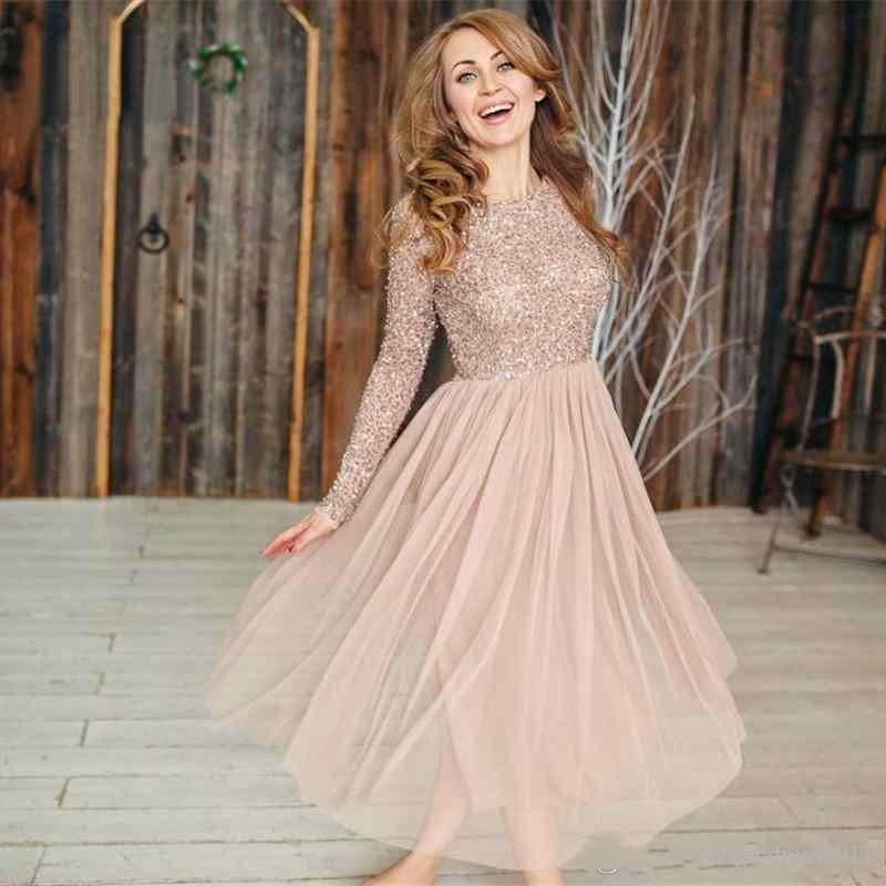 Blush-Pink-Ankle-Length-Women-Dresses-Maternity-Long-Squined-Sleeves-Tulle-Pregnant-Dress-O-neck-Cheap (1)