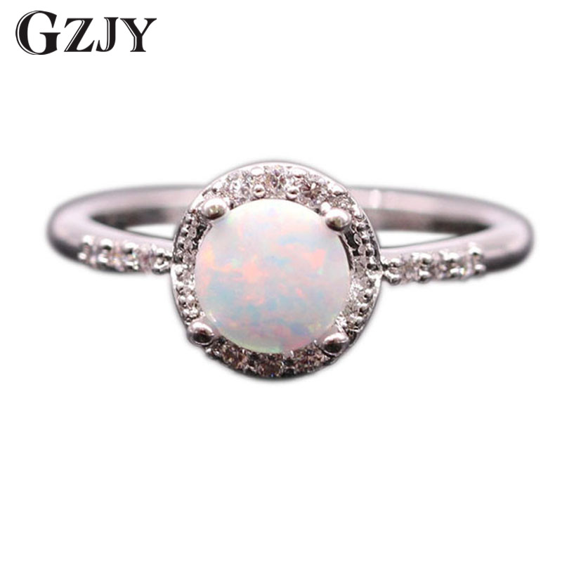 Gzjy Beautiful Simple Round Jewelry White Fire Opal Wedding Ring