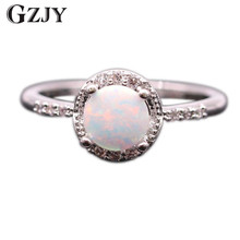 ФОТО Beautiful Cute Simple Round Jewelry White Fire Opal 925 Silver  Ring Whole