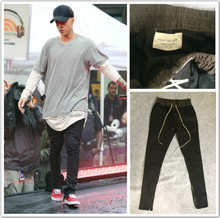 2016 kanye west yeezus men jeans hiphop pants side zippers casual fear of god jogger pants Elastic Stretch trousers yeezies
