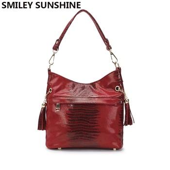 SMILEY SUNSHINE snake women bag small hobo shoulder bag female red tassel leather handbags ladies messenger to-handle bags sac shoulder bag