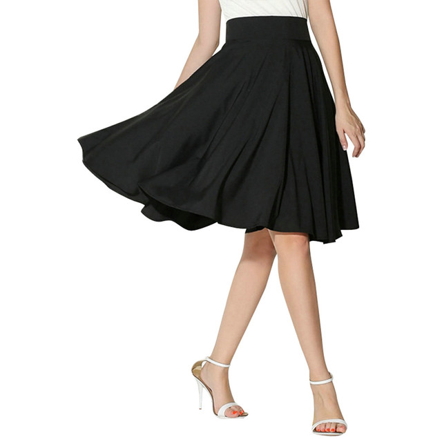 Solid Casual Retro Flared Knee Length Pleated High Waist Skirt