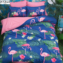 XYZLS Western Queen Size Bedding Set Flamingo King Duvet Cover Sets Polyester Twin Kids Bedding Set Home Bedclothes Bedding Kit(China)