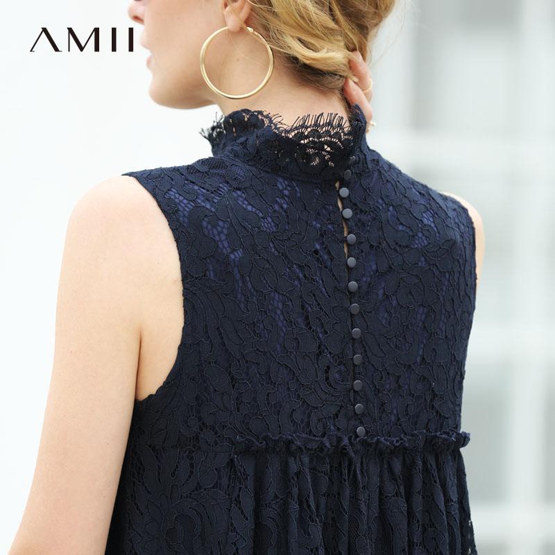 Amii Women Minimalist 2018 Summer Dress Office Lady Elegant High Quality Lace Double Layer Female Dresses