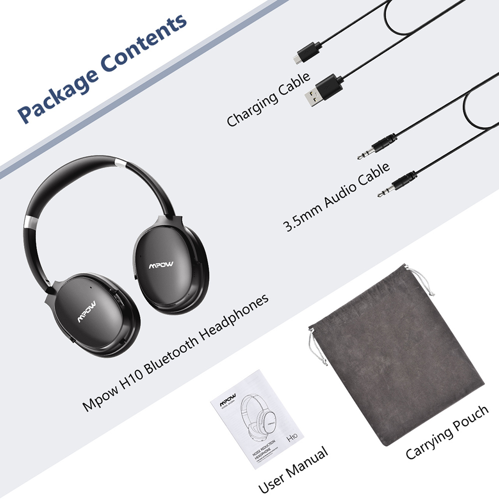 Mpow H10 Active Noise Cancelling Bluetooth Headphone HiFi Stereo ANC Wireless Wired Foldable Headset For PC Tablet PK Mpow H5