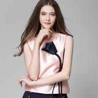 Sweet rose flower appliques patchwork designer round collar sleeveless blouses shirts 2017 new brand fashion women's tops AW275