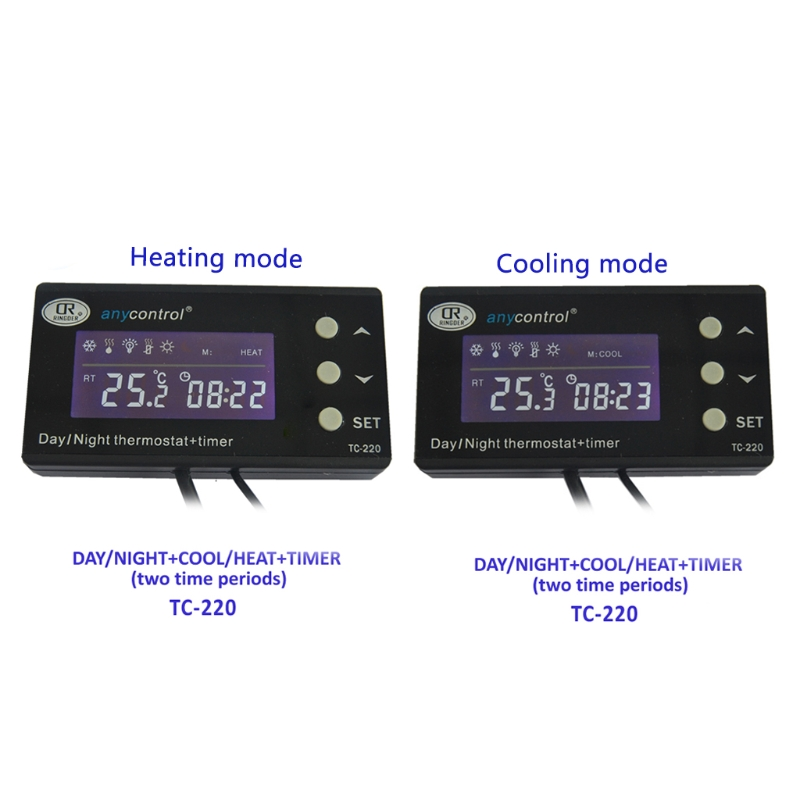 Tools : TC-220 0-50C Day night ON OFF Digital Reptile Thermostat with Timer Regulator Animal  Amphibian Temperature Controller