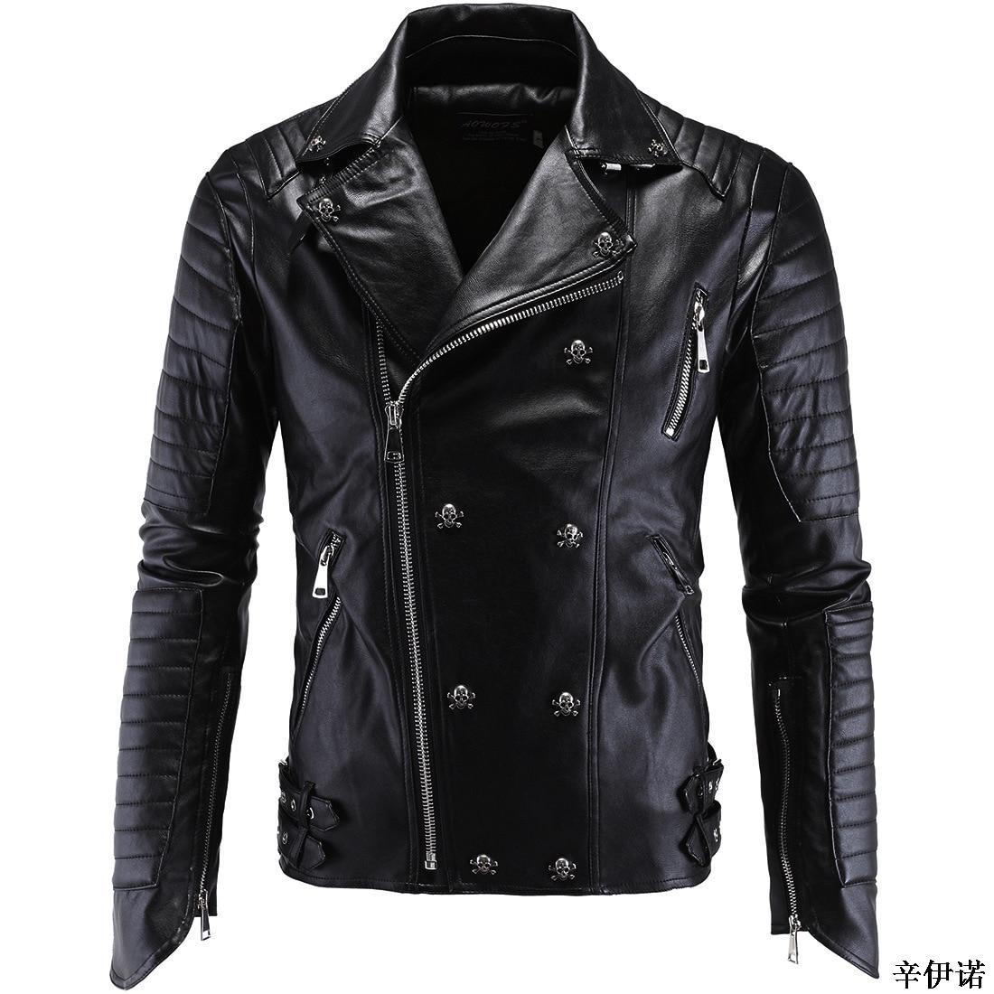 Plus size5XL Fashion Brand Men's Winter Leather Jackets Faux Jacket Korean Style Slim Harley Coats Men Moto Skull Jacket For Men