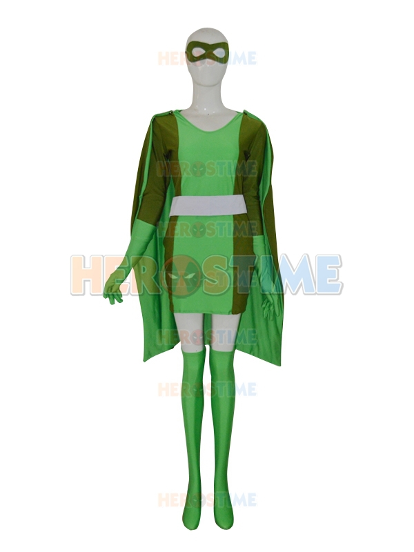 Halloween Cosplay Suit Totally Spies Lycra Spandex Cool Green Custom Female Superhero Costume with cape