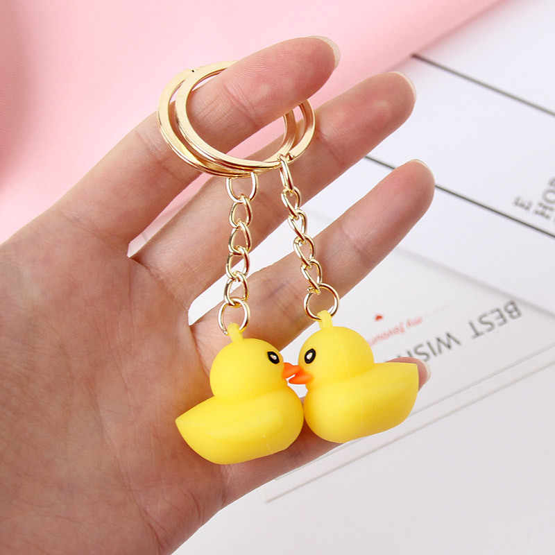 Fashion Cute Little Yellow Silicone DUCK Key Chain Dancing Duck Keychain Couples Women Friend Gift Bag Pendant Accessory Keyring