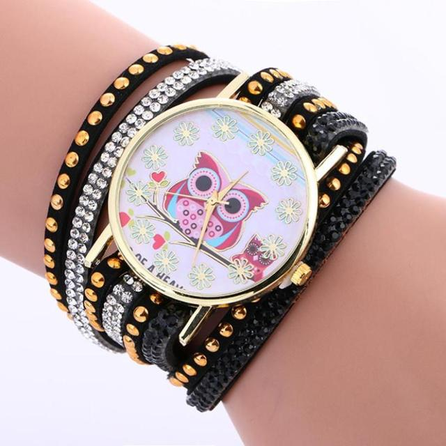 2018 Selling fashion watches Faux Chronograph Classic Plated Quartz Owl Pattern