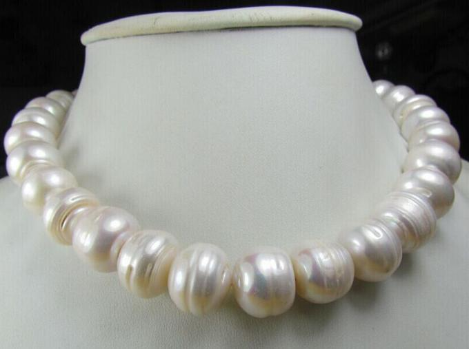 CHARMING 11-13MM AAA NATURAL SOUTH SEA WHITE BAROQUE PEARL NECKLACE choker 18 INCH fast huge 12 13mm natural tahitian south sea white green pearl necklace 18 aaa