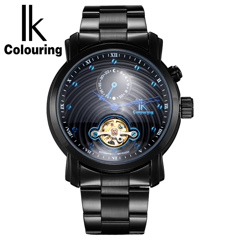 IK colouring Gold Hollow 24 Hours Sub Dial Automatic Self-Wind Mechanical Watches Full Steel Luxury Men Watch relogios masculino все цены